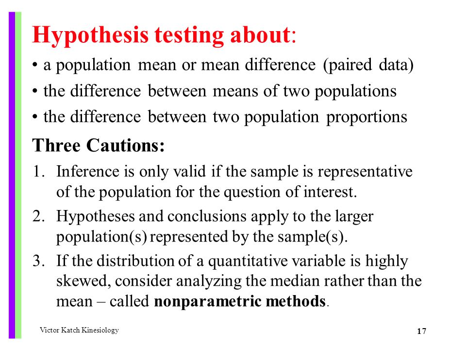 Hypothesis testing about: