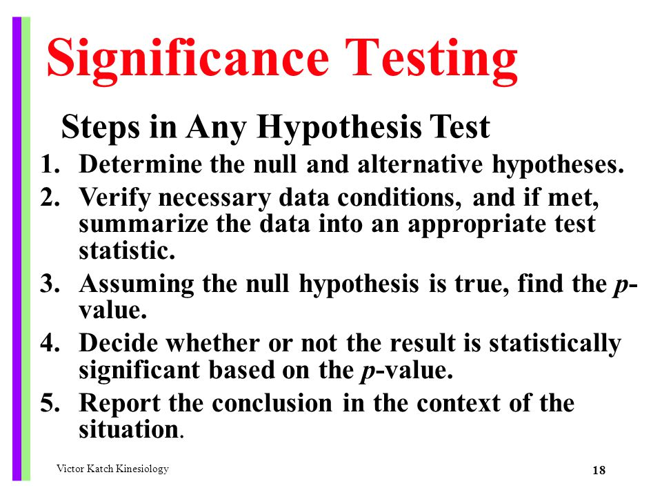 Significance Testing Steps in Any Hypothesis Test