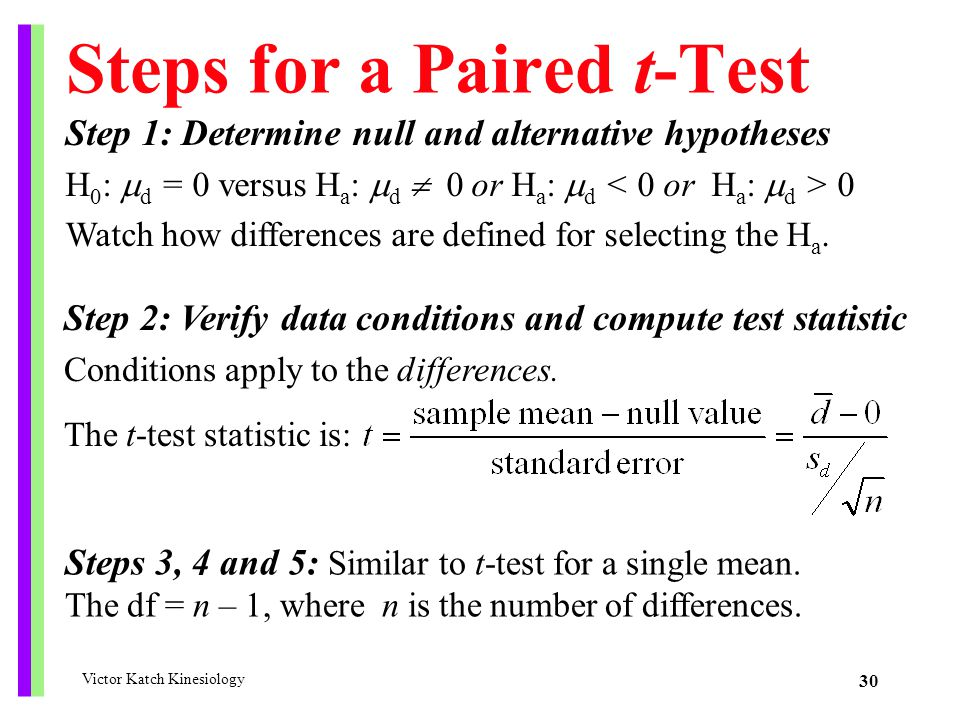 Steps for a Paired t-Test