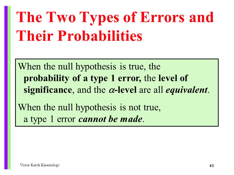 The Two Types of Errors and Their Probabilities