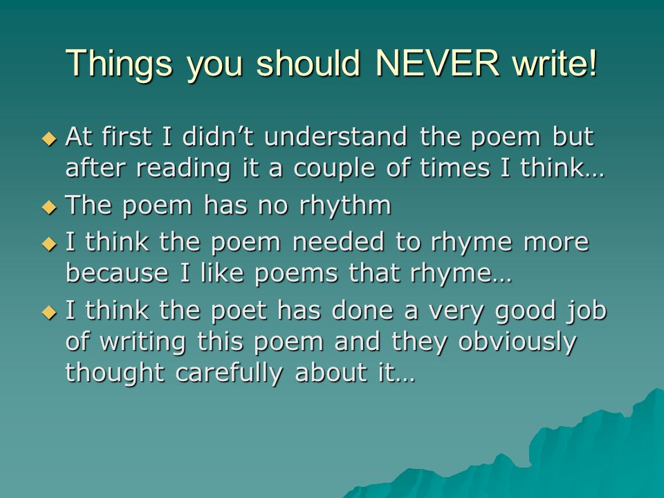 Things you should NEVER write!