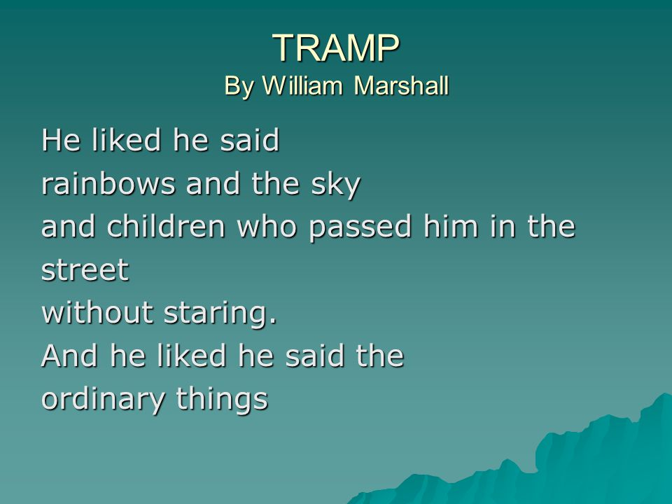 TRAMP By William Marshall