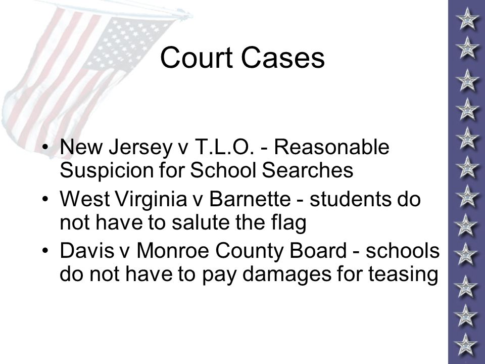 Reasonable Suspicion School Searches AP GOPO Chapter...