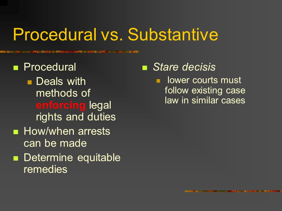 substantive law vs. procedural law essay Procedural justice and substantive justice justice is a concept which indicates that  procedural justice is the idea of fairness in the processes that resolve disputes and allocate resources one aspect of procedural justice is related to discussions of the administration of justice and legal proceedings  in law, substantive justice is.