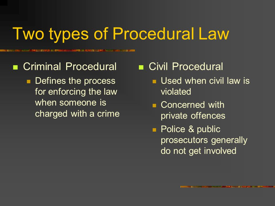 Two types of Procedural Law