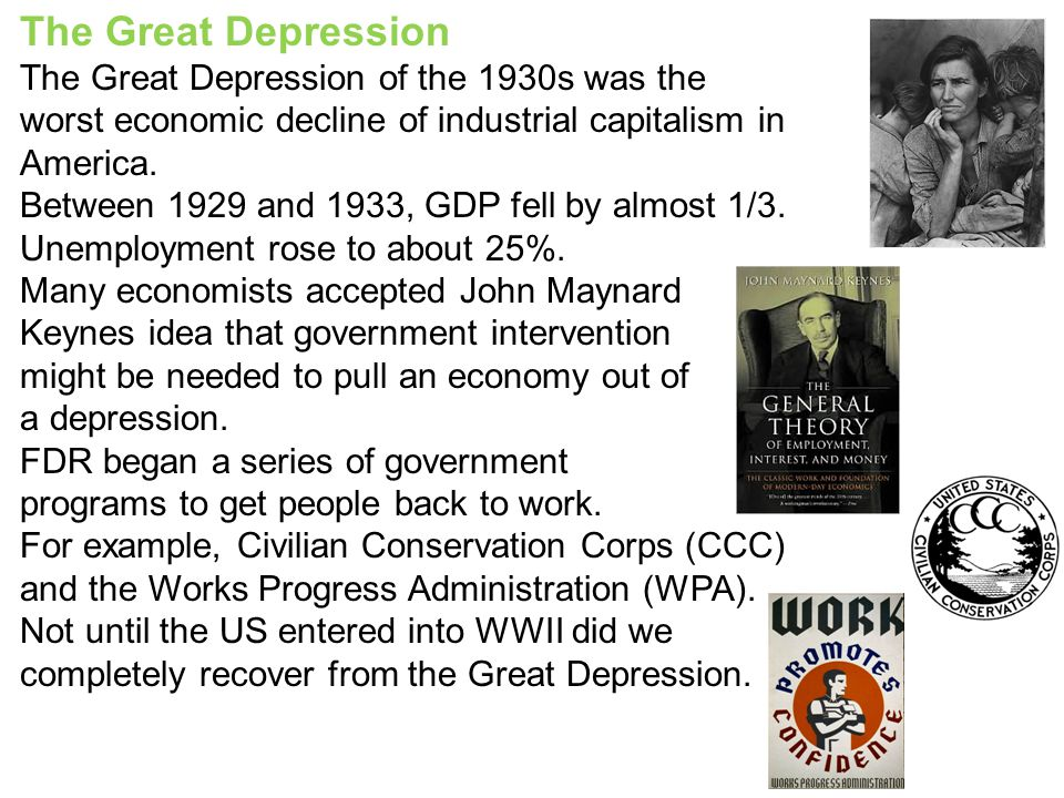 the factors that caused the 1930s economic depression in the us A major cause of overproduction in the early 1900s was the boost new technology available to farms, businesses and homes, however this overproduction did not occur during the great depression actually, it was one of the major causes overproduction in agriculture and manufacturing was one of the .