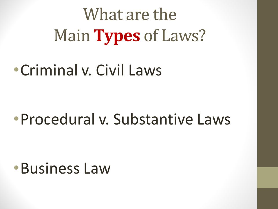the three main types of law Home » blog » three types of property under the law most people have two types and some have all three real property is land and buildings.