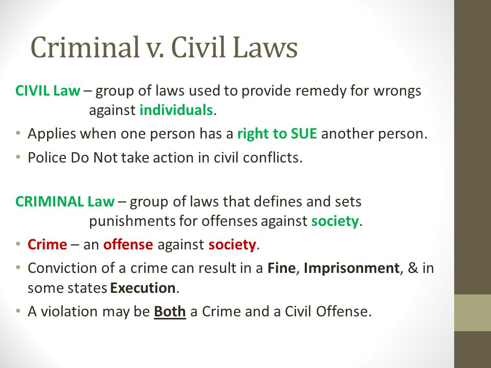civil v criminal law Civil and criminal law worksheets - showing all 8 printables worksheets are play by the rules work 11 2 civil or criminal law, judicial learning center lesson plan.