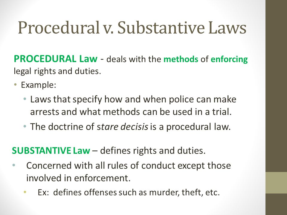 procedural and substantive law essay Definition of substantive in english:  'each procedural pigeon-hole contains its own rules of substantive law,.