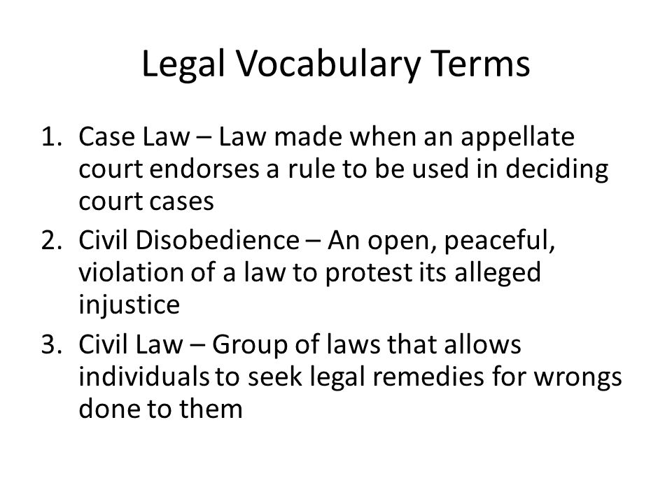 Legal Vocabulary Terms