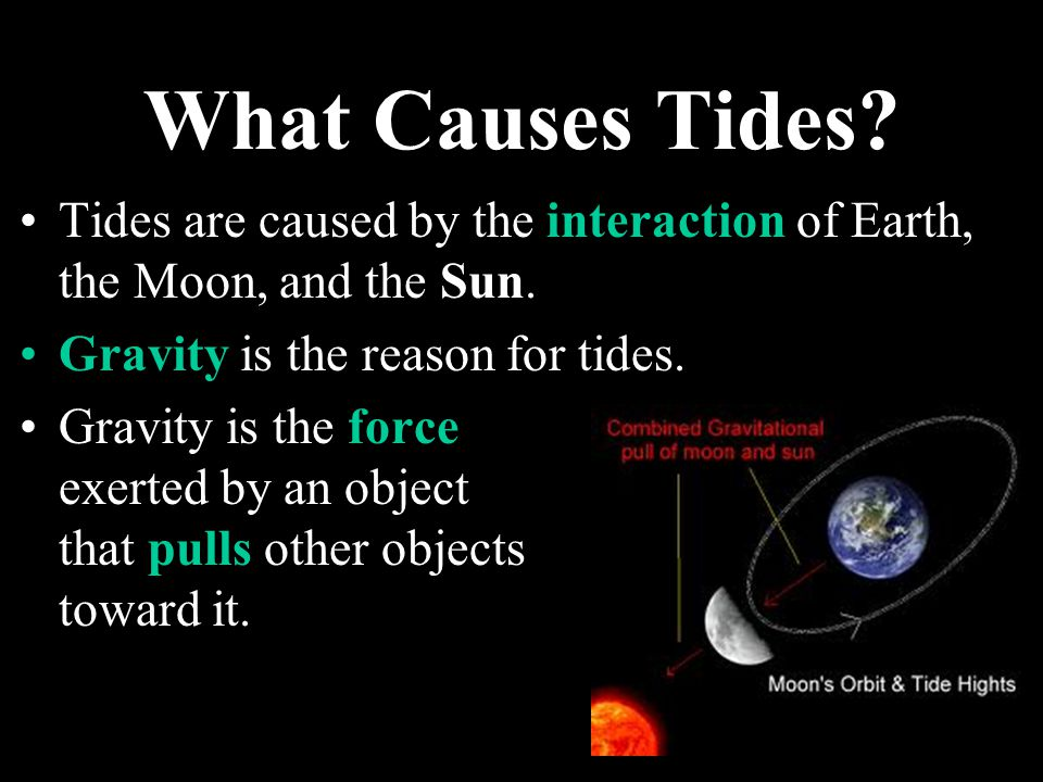 What Causes Tides Tides are caused by the interaction of Earth, the Moon, and the Sun. Gravity is the reason for tides.