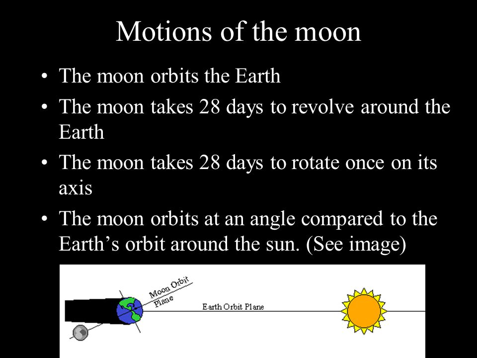 Motions of the moon The moon orbits the Earth
