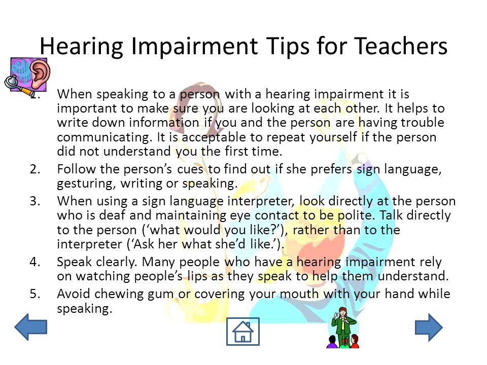 Approaches for teaching individuals with hearing impaired