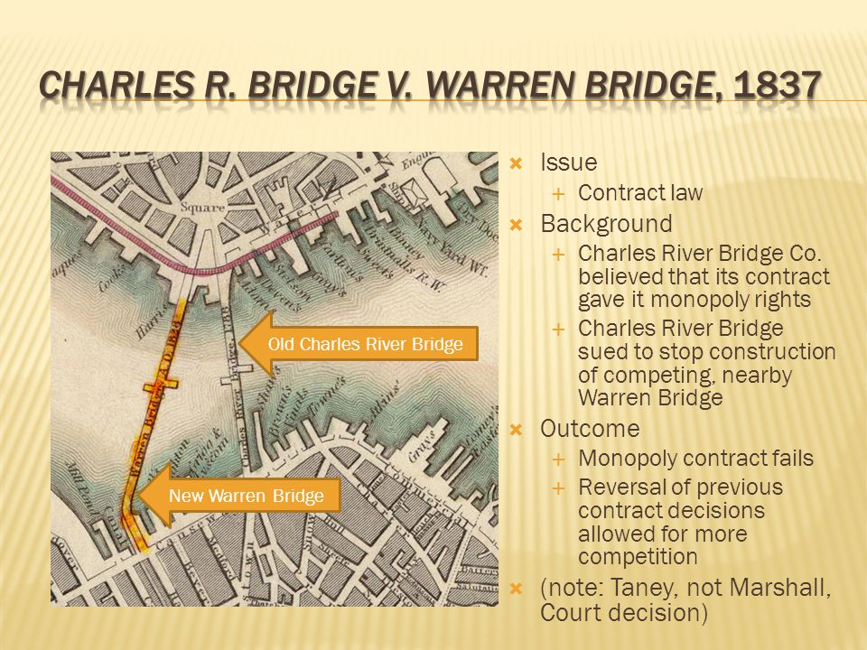 a review of the 1837 case charles river bridge vwarren bridge Start studying us history ap 2 learn  madison he established the supreme court's power of judicial review,  1837 - the charles river bridge decision,.