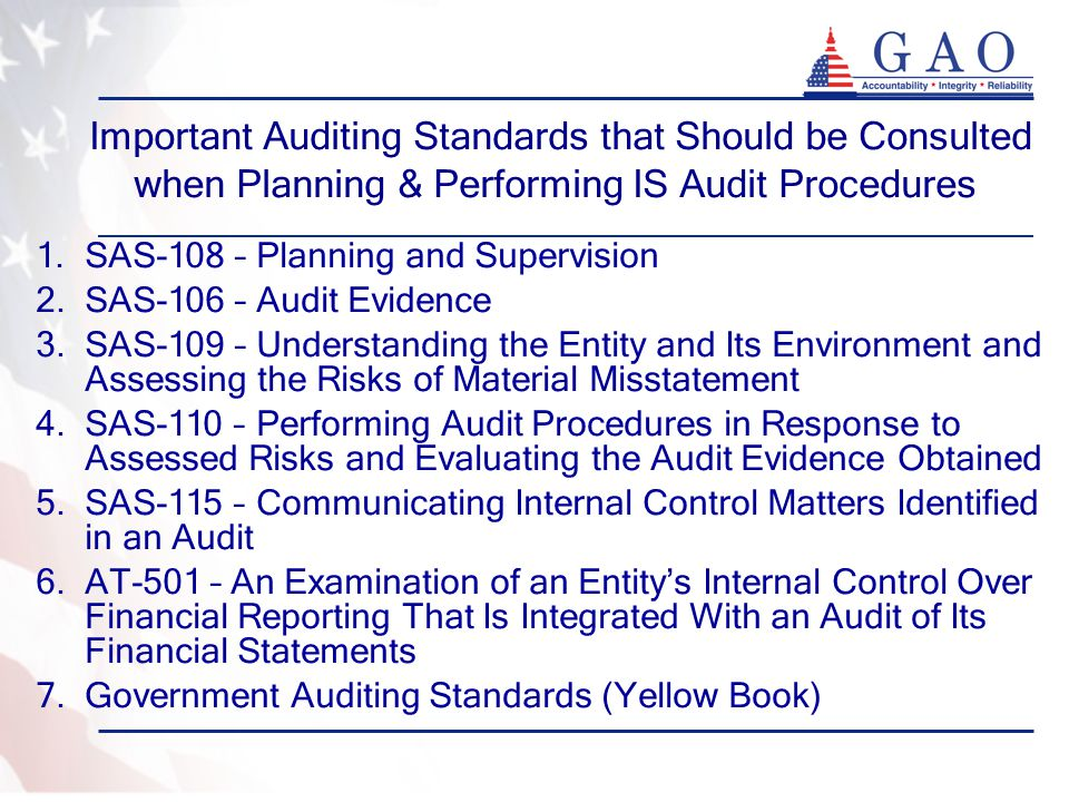 Important Auditing Standards that Should be Consulted when Planning & Performing IS Audit Procedures