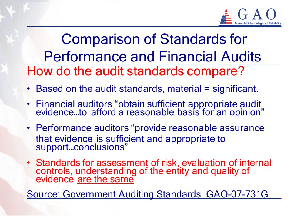 Comparison of Standards for Performance and Financial Audits