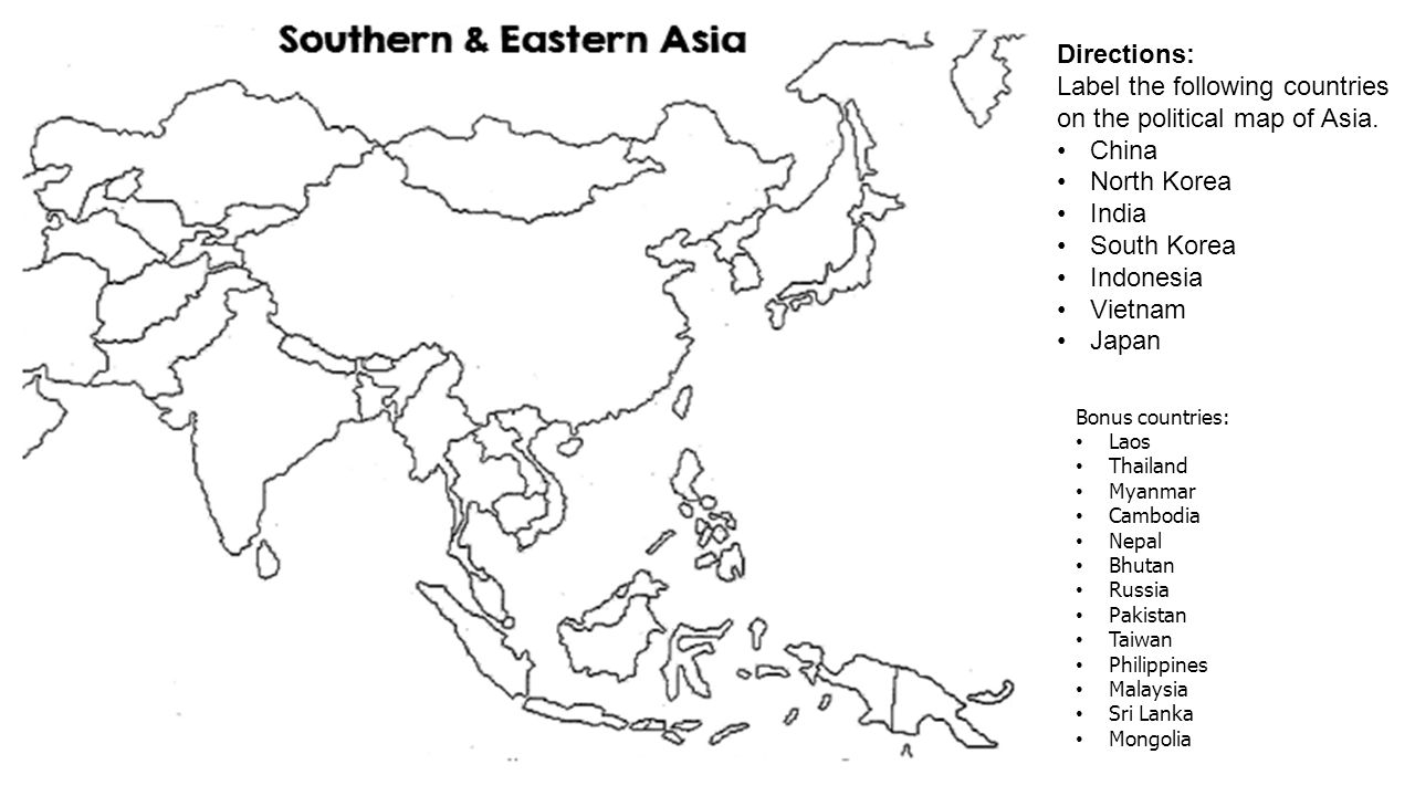 Label the following countries on the political map of Asia. China ...