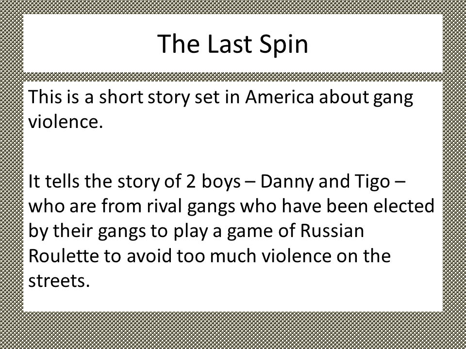 "short story the last spin A summary of ""spin"" in tim o'brien's the things they carried last comes the vision of a although the plot of ""spin"" is not complicated, the story."