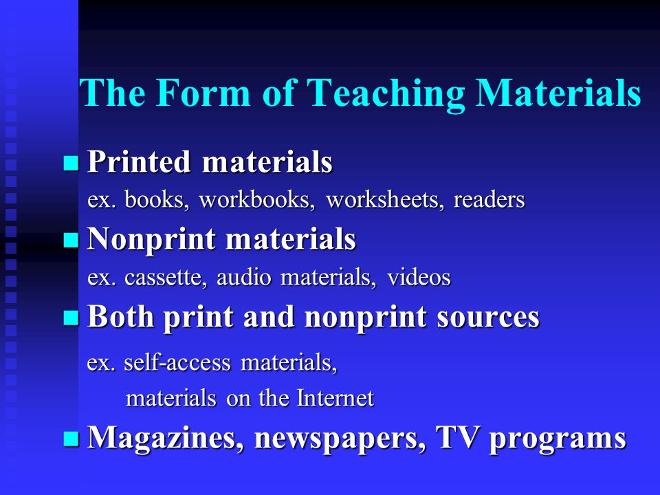 The Form of Teaching Materials
