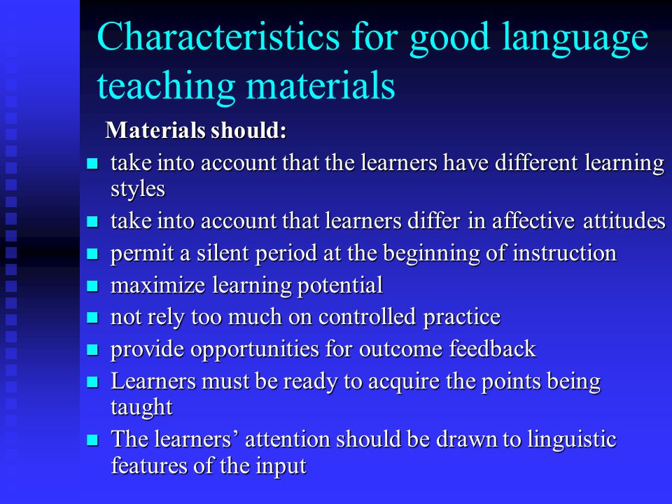 Characteristics for good language teaching materials