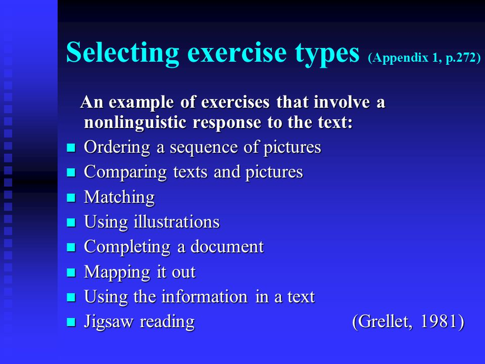 Selecting exercise types (Appendix 1, p.272)