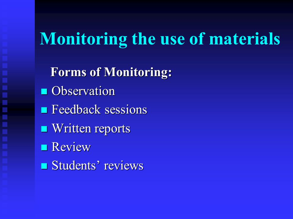 Monitoring the use of materials