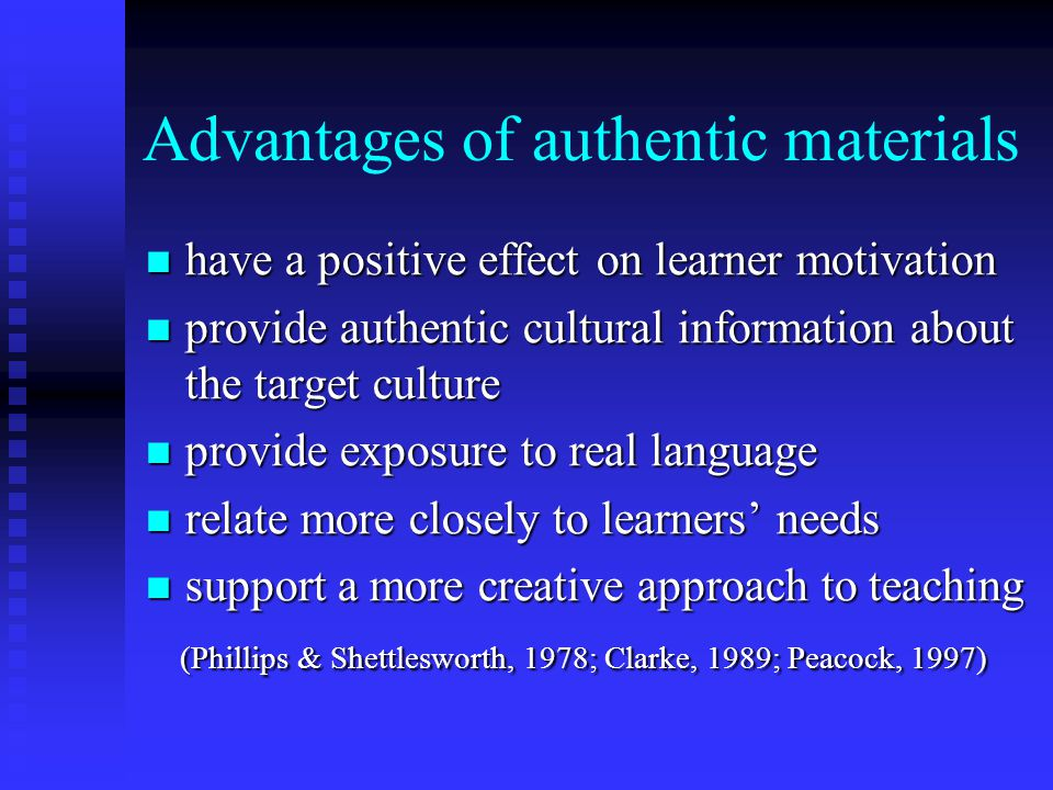 Advantages of authentic materials