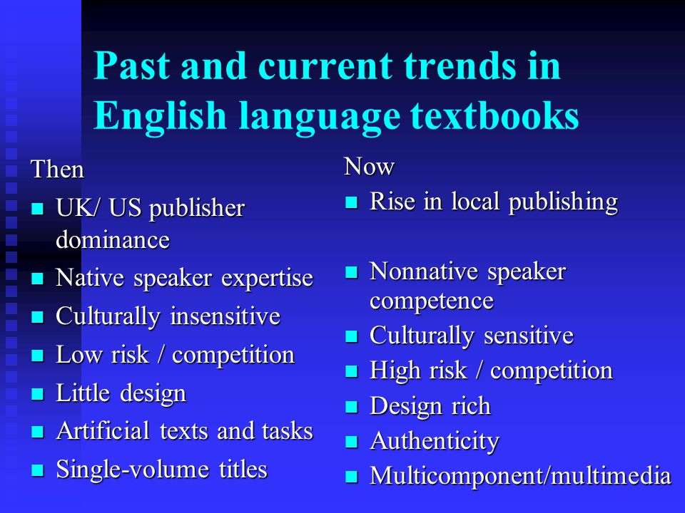 Past and current trends in English language textbooks