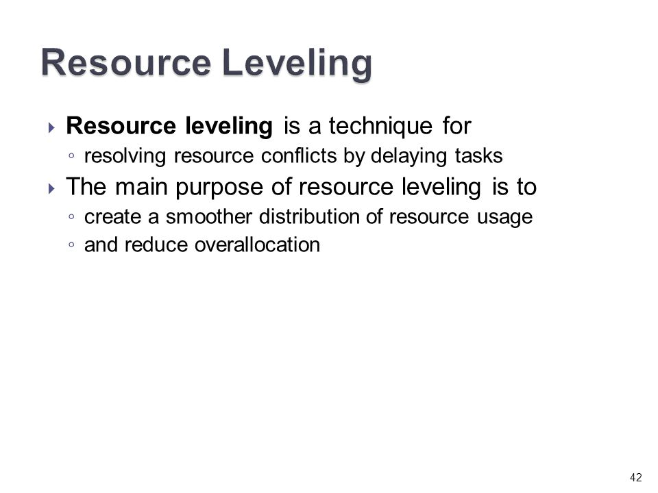 how to make resource leveling