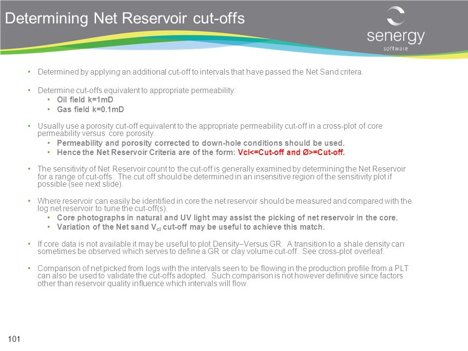 Determining Net Reservoir cut-offs
