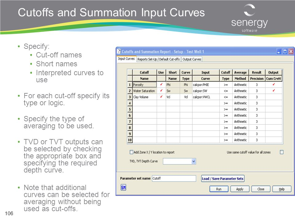 Cutoffs and Summation Input Curves