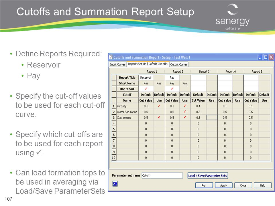Cutoffs and Summation Report Setup