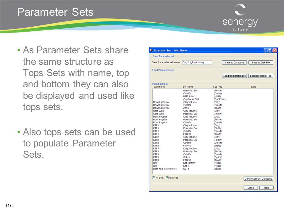 Parameter Sets As Parameter Sets share the same structure as Tops Sets with name, top and bottom they can also be displayed and used like tops sets.