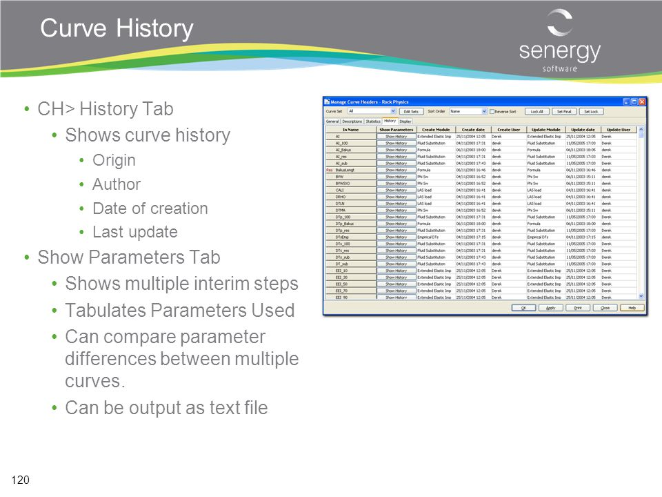 Curve History CH> History Tab Shows curve history