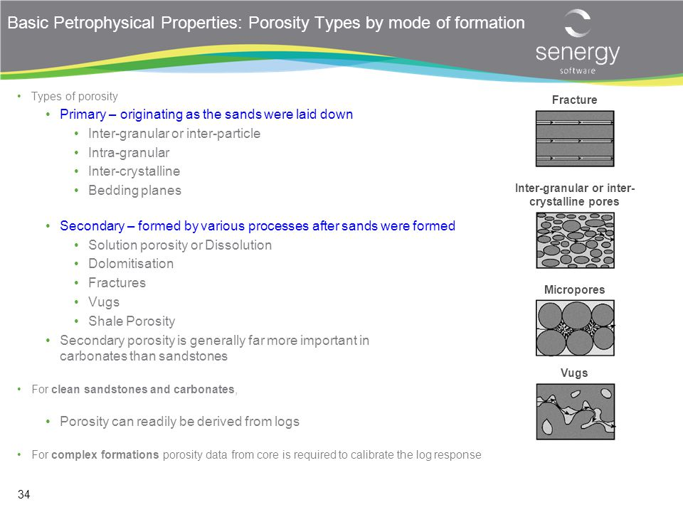 Basic Petrophysical Properties: Porosity Types by mode of formation