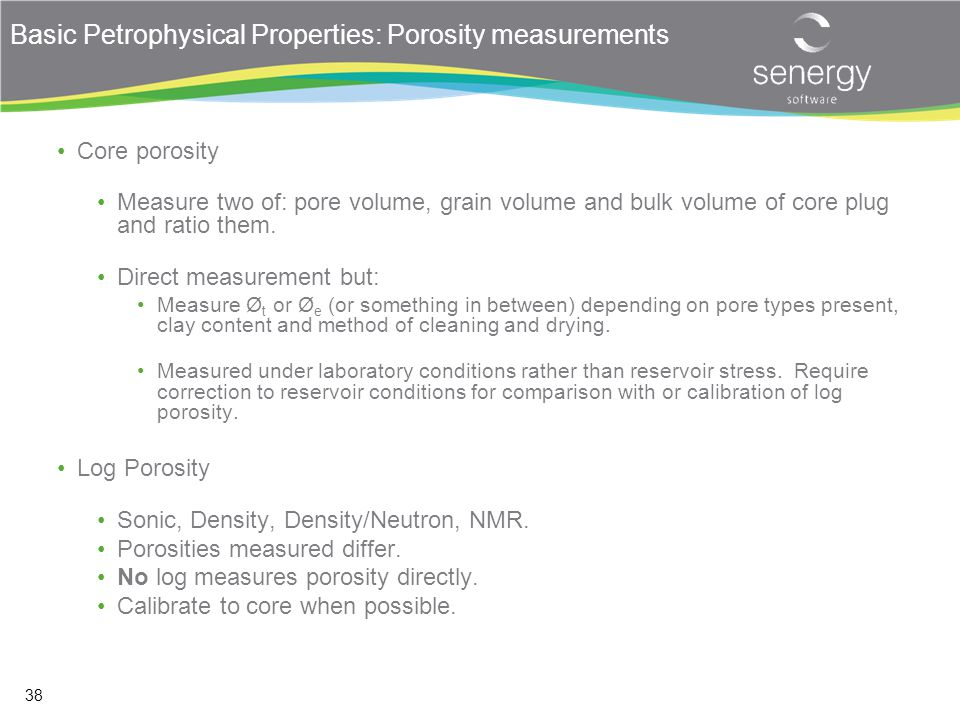 Basic Petrophysical Properties: Porosity measurements