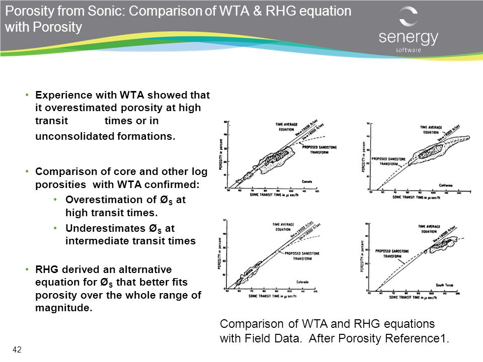 Porosity from Sonic: Comparison of WTA & RHG equation with Porosity