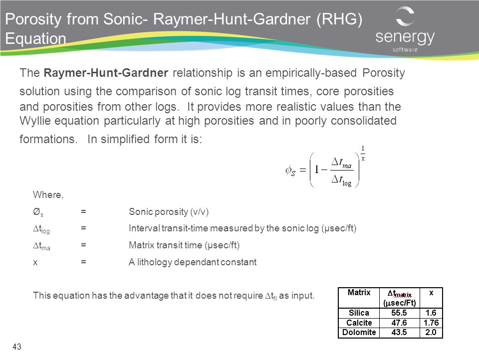 Porosity from Sonic- Raymer-Hunt-Gardner (RHG) Equation