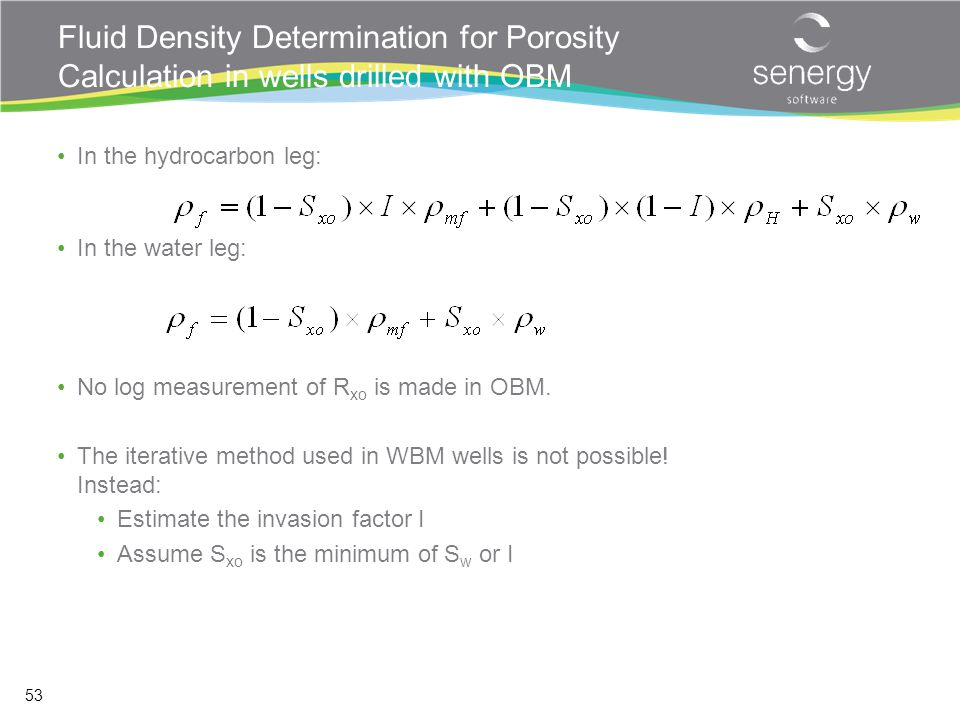 Fluid Density Determination for Porosity Calculation in wells drilled with OBM