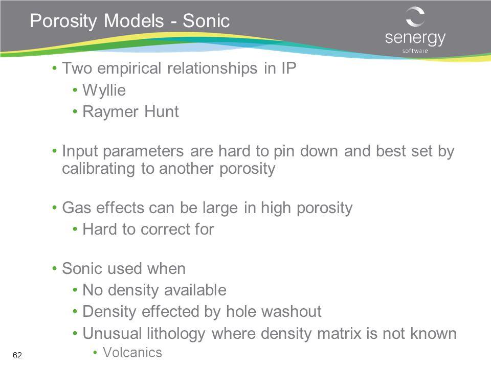 Porosity Models - Sonic