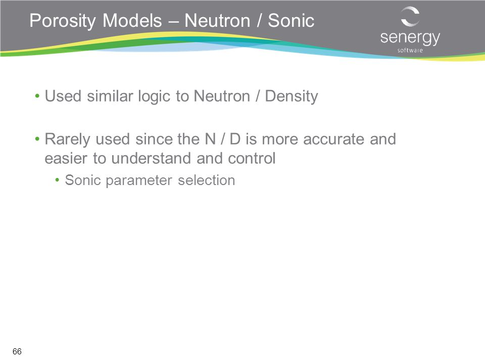 Porosity Models – Neutron / Sonic