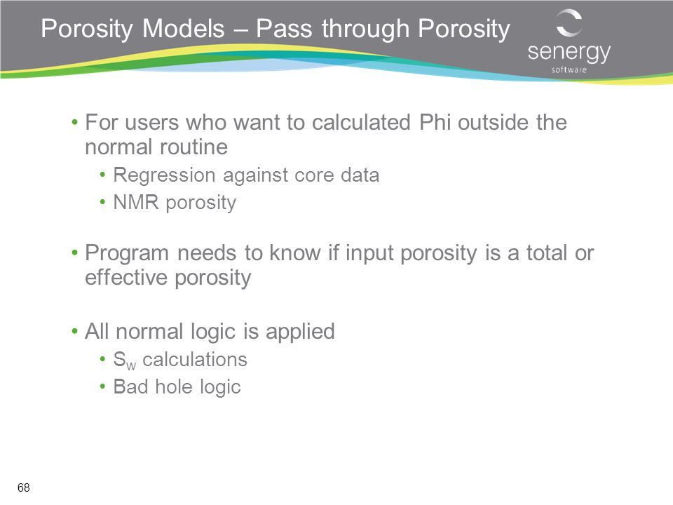 Porosity Models – Pass through Porosity