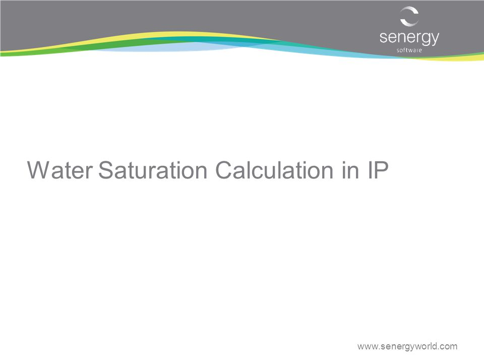 Water Saturation Calculation in IP