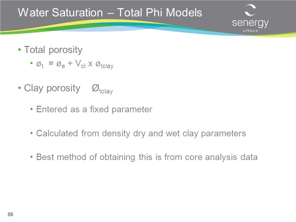 Water Saturation – Total Phi Models