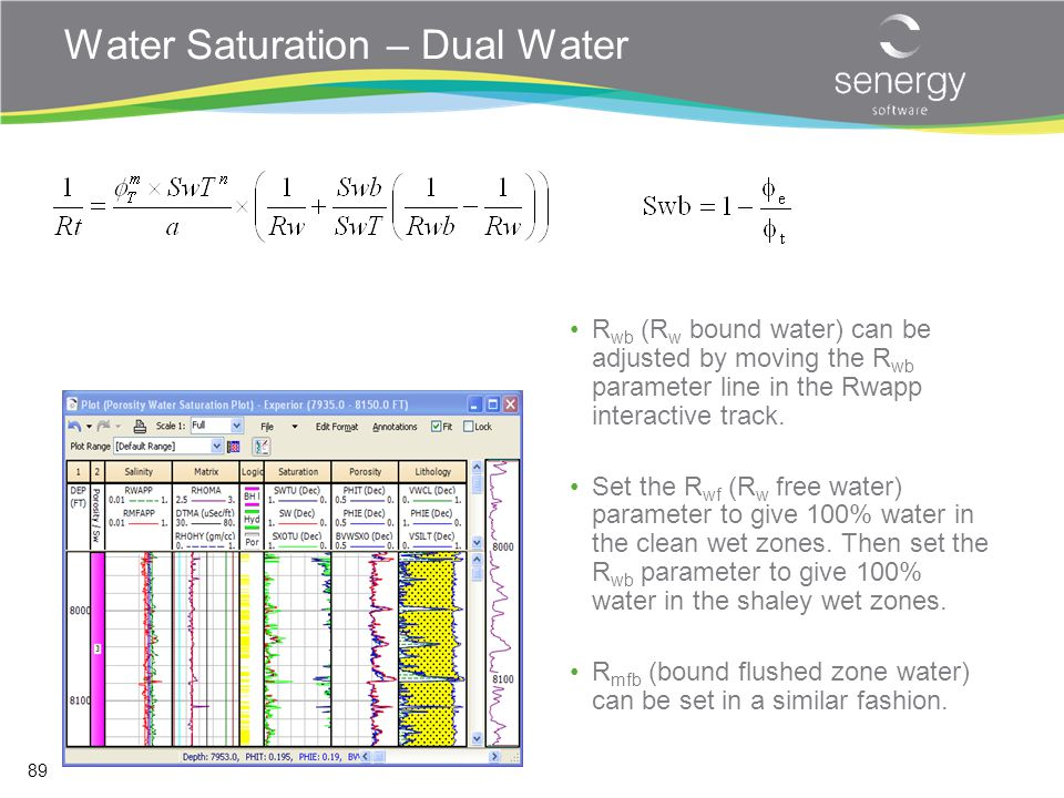 Water Saturation – Dual Water