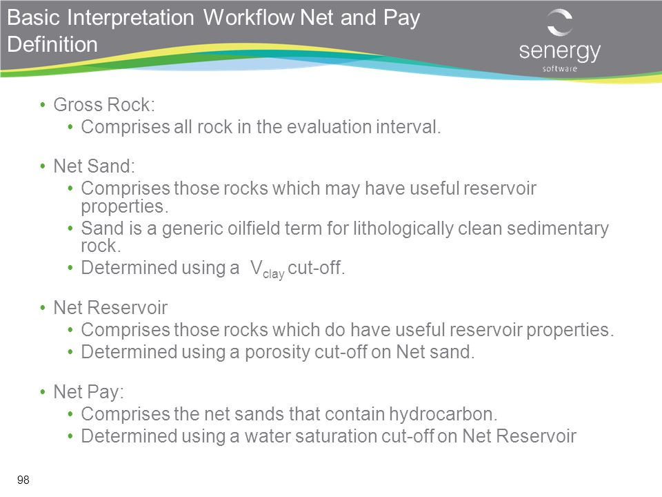 Basic Interpretation Workflow Net and Pay Definition