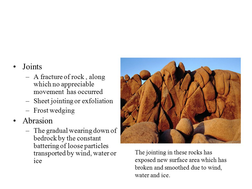 Joints A fracture of rock , along which no appreciable movement has occurred. Sheet jointing or exfoliation.