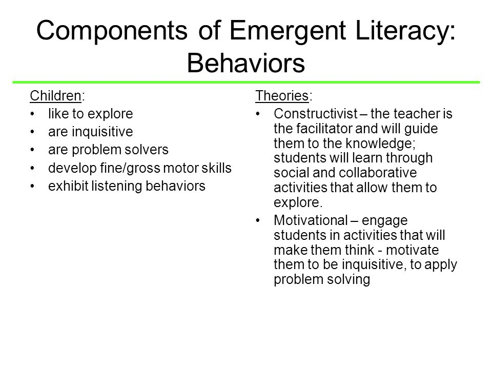 emergent literacy skills Ii abstract the effects of parental literacy involvement and child reading interest on the development of emergent literacy skills by crystal carroll.