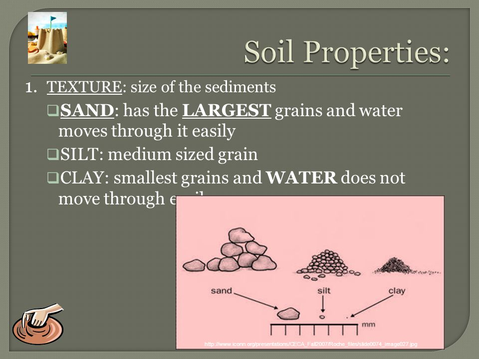 Soil Properties: 1. TEXTURE: size of the sediments
