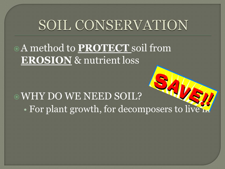 SOIL CONSERVATION A method to PROTECT soil from EROSION & nutrient loss.